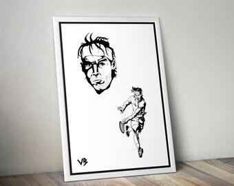 Rafael Nadal, Art Print, Rafael Nadal Poster, Rafael Nadal Art, Rafael Nadal Print, Black and White Print, Tennis Print, VillainBros