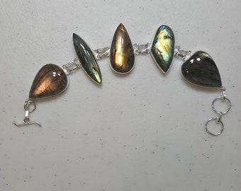 "Gorgeous Large Stoned Labradorite Adjustable Bracelet 8 1/2""- 9 1/4"" .925 Sterling Silver Stunning Quality Natural Flashes"