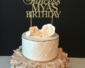 Princess Birthday Topper, Gold Princess Cake Topper, First birthday cake topper, Any Name, Prince Birthday Cake Topper
