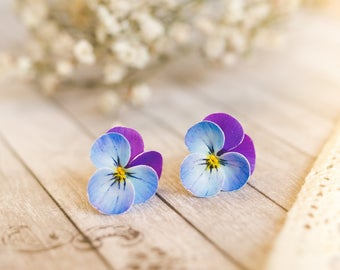 Pansy earrings flower earrings violet stud earrings Blue purple pansy Pansy jewelry Floral earrings floral style Polymer Clay flower