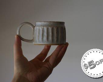 White Milkshake Mug - ON SALE - ceramic mug, stoneware mug, shinogi mug