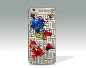 iPhone 7 Case Map Clear iPhone 7 Plus Case World Map iPhone 7 Case Clear iPhone 6 Case iPhone 6s Case iPhone Case Christmas Gift // 297