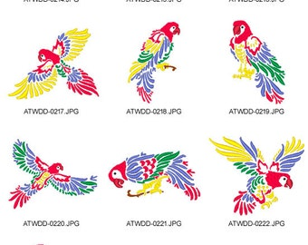 Beautiful-Macaw-Outlines ( 10 Machine Embroidery Designs from ATW )