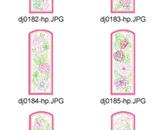 ITH-Floral-Multiline-Bookmarks-5x7 ( 10 Machine Embroidery Designs from ATW ) XYZ17E