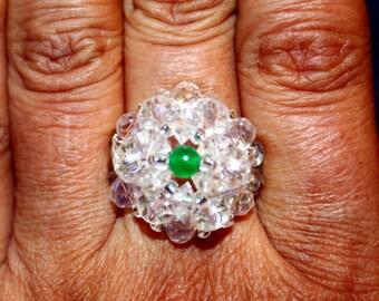 Cute Crystal & green jade-beaded handmade ring; beadweaving, beautiful, casual wear, party wear, white, green