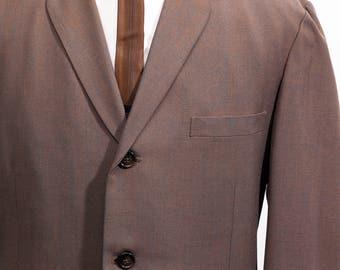 Vintage 50s 60s Bespoke Suit Sharkskin Large