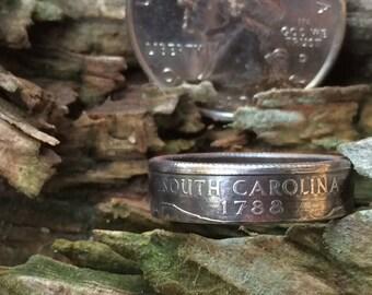 Silver South Carolina quarter coin ring