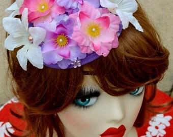 Pillbox Hat Fascinator Flowers Bibi