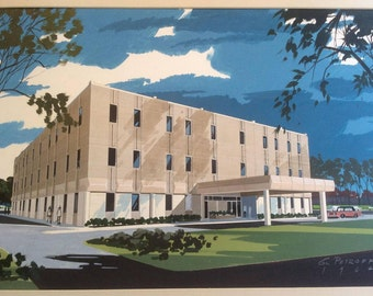 Vintage Architect's Rendering of Office Building