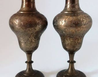 Brass Etched Vases   Set of 2