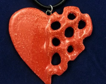 Unique Handmade Red Glazed Ceramic, Pottery, Clay, Pierced, Heart Pendant, Necklace with Real Leather Cord (4)
