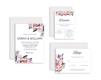 No. 3 | Printable 5 x 7 Wedding Invitation | 5 x 3.5 RSVP | 5 x 3.5 Details Card