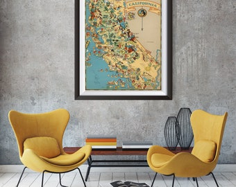 Vintage California Map from 1935, old California map Print, old USA map Print Art Poster,Office Decor, Home Decor Print