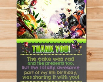 Plants Vs Zombies Garden Warfare Birthday Thank You Card - Green Chalkboard - PVZ Thanks - PVZ Birthday Party - PVZ Party Printable Favors
