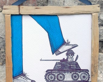 Print-prints from original drawing-framed print-print to hang on--Not war--tank-soldier-no war-dream-hopes-art