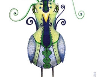 Bird drawed - green/blue - made by Gabriela Brakenhoff