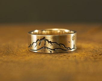 Sterling Silver Mountain Ring, Mountain Jewelry, Nature Jewelry, Nature Ring, Textured Landscape Ring, Mountain Scape Ring, Silver Moon Ring