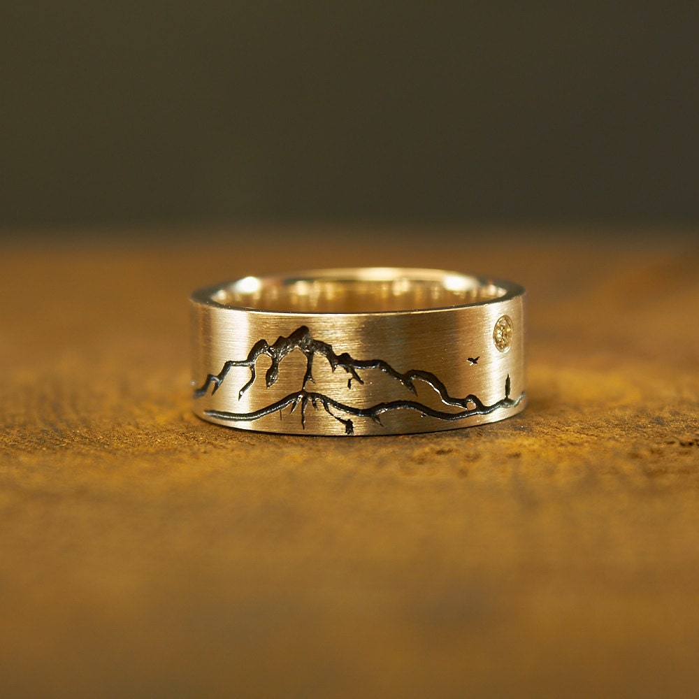 sterling silver mountain ring mountain jewelry nature. Black Bedroom Furniture Sets. Home Design Ideas
