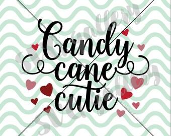 Christmas SVG, Candy cane cutie SVG, Digital cut file, winter svg, candy cane svg, heart svg, santa claus svg, commercial use OK