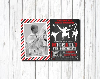 Ninja Birthday Invitation, with photo, Ninja Invitation, Ninja Birthday, Karate party invitation, Ninja Birthday Party Invitation, Karate,