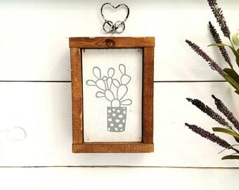 Mini cactus wood sign,  5x7, cactus, wood sign, Arizona cactus, shelf decor, kids room decor, playroom decor, kids wall art, wood decor