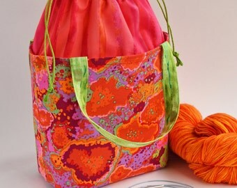 Drawstring Bag - Knitting Project Bag - Bucket Bag - Sock Knitting Bag - Bucket Tote - Crochet Project Bag - Lunch Bag - Gift for Her