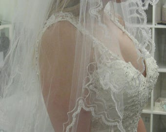 Cathedral Length Cornely Embroidered Edwardian Angel Lace Veil