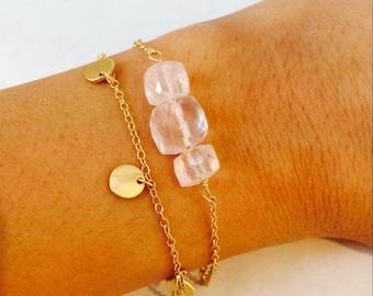 Rose Quartz Bracelet, Gemstone Bracelet, Layering Bracelet, Pink Bracelet, Love Bracelet