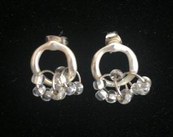Silver Hoop and Beaded Earrings