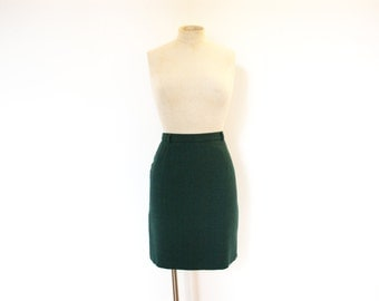 Vintage 80s Dark Green Mini Skirt - Small