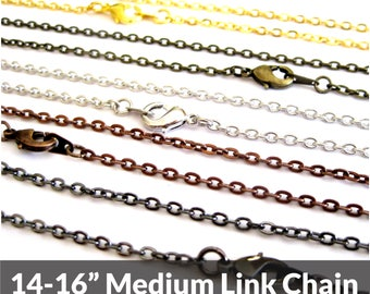 Necklace Chain, 14 inch, Bronze,Silver, Black, or Copper, Replacement Chain, Choker Necklace Chains Bulk, Adjustable Length, Wholesale Chain