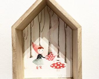 Illustration encadrée-cadre maison-Aquarelle-tirage d'art-décoration chambre d'enfants -petite maison-chaperon rouge-champignon-forêt-bois