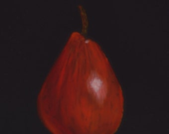 Red Pear  fruit paintings  kitchen decor  paintings of pears  still life paintings  art for kitchens