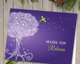 Printable Purple Ornate Tree of Life Greeting Card; Bat Mitzvah or Birthday, Editable PDF, Instant Download
