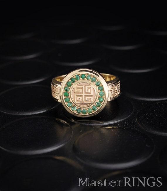 emerald signet ring emerald ring unique gold signet