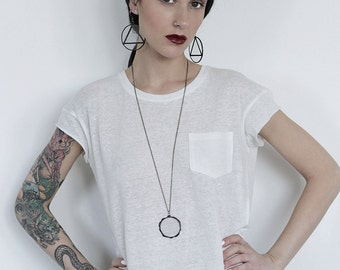 Circle necklace, witch necklace, gothic necklace, occult necklace, rustic necklace, pagan necklace, simple necklace, geometric necklace