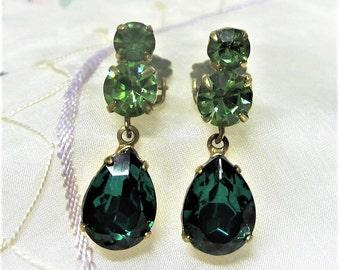 Green Rhinestone Dangle Clip On Earrings Vintage 1950s Emerald and Peridot Green