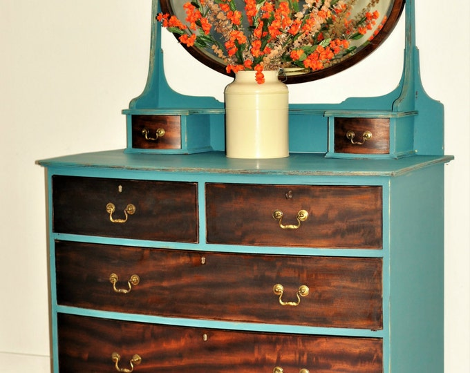 Dresser with Mirror and bowed front drawers Glove Box Drawers Peacock paint Ebony Walnut Stain 6 drawers Large Bedroom Gold Burl Walnut