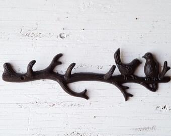 Tree Branch Hook/ Cast Iron Bird Hooks/ Metal Bird hook/ Bird wall hooks/ Woodland/ Woodland Nursery/ Tree Decor/ Tree Hook/ Tree Branch