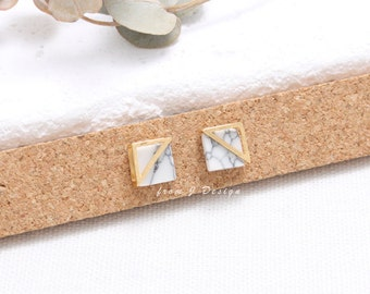 White Howlite Square with Triangle Frame Stud Earrings, White Marble Stud Earrings
