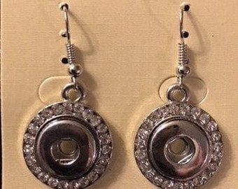New Silver 12mm Interchangeable Snap Earrings with Rhinestones - Great New Addition to your Snap Collection