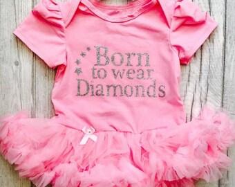 Born to wear Diamonds Pink tutu romper Baby Girl Princess Baby shower Gift Party Newborn Present Fashion  0-18 Months