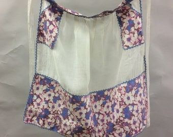 Vintage Apron with White Cotton Lawn and Pink Floral Print