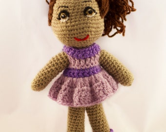 Dark Skinned Amigurumi Crochet Doll