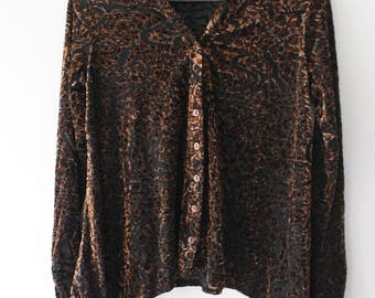 Velvet burnished leopard print brown pattern long sleeve button down blouse size M