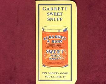 W.E. Garrett Sweet Snuff Pocket Notebook 1939-1940 Vintage Advertising
