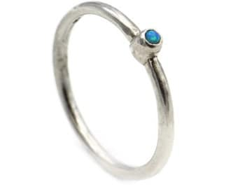 opal stone ring, stacking ring, blue stone ring, stack able ring, circle silver ring, silver and opal, delicate ring, silver stone ring