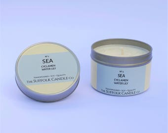 SEA - Cyclamen and Waterlily - handmade scented candle 100% soy wax in a tin 100g