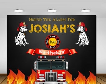 Fire Truck Birthday Party Backdrop, Fireman Birthday Party, Fire Fighter Birthday Party, Firetruck Party, Chalkboard, Backdrop, Poster, Sign