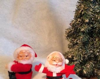 Set of 2 Vintage Santa Claus Christmas Ornaments/Decorations.
